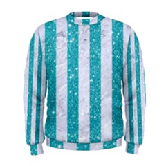 Stripes1 White Marble & Turquoise Glitter Men s Sweatshirt by trendistuff