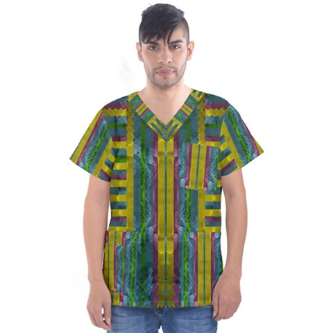 Summer Night After The Rain Decorative Men s V-neck Scrub Top by pepitasart