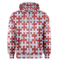 Puzzle1 White Marble & Red Glitter Men s Zipper Hoodie by trendistuff