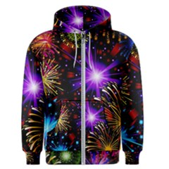 Celebration Fireworks In Red Blue Yellow And Green Color Men s Zipper Hoodie by Sapixe