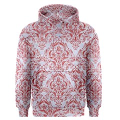 Damask1 White Marble & Red Glitter (r) Men s Pullover Hoodie by trendistuff