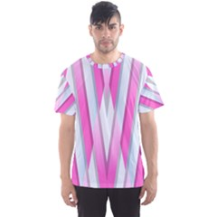 Geometric 3d Design Pattern Pink Men s Sports Mesh Tee