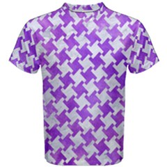 Houndstooth2 White Marble & Purple Watercolor Men s Cotton Tee