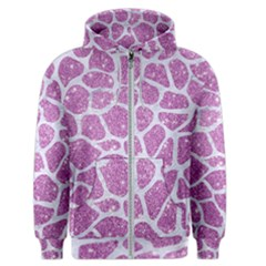 Skin1 White Marble & Purple Glitter (r) Men s Zipper Hoodie by trendistuff