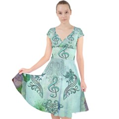 Music, Decorative Clef With Floral Elements Cap Sleeve Front Wrap Midi Dress by FantasyWorld7