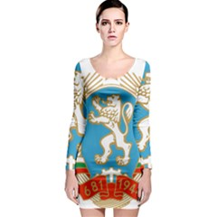 Coat Of Arms Of People s Republic Of Bulgaria, 1971-1990 Long Sleeve Bodycon Dress by abbeyz71
