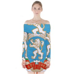 Coat Of Arms Of People s Republic Of Bulgaria, 1971 1990 Long Sleeve Off Shoulder Dress by abbeyz71
