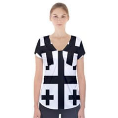 Black Jerusalem Cross  Short Sleeve Front Detail Top by abbeyz71