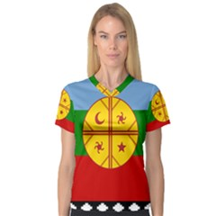 Flag Of The Mapuche People V Neck Sport Mesh Tee by abbeyz71