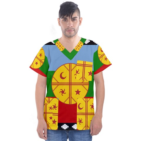 Flag Of The Mapuche People Men s V-neck Scrub Top by abbeyz71