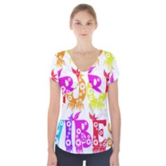 Good Vibes Rainbow Colors Funny Floral Typography Short Sleeve Front Detail Top by yoursparklingshop