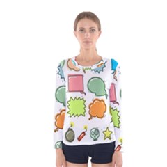Set Collection Balloon Image Women s Long Sleeve Tee