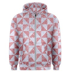 Triangle1 White Marble & Pink Glitter Men s Zipper Hoodie by trendistuff