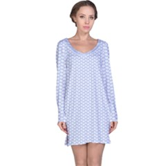Alice Blue White Kisses In English Country Garden Long Sleeve Nightdress by PodArtist