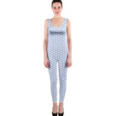 Alice Blue White Kisses In English Country Garden One Piece Catsuit by PodArtist