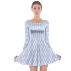 Alice Blue White Kisses In English Country Garden Long Sleeve Skater Dress by PodArtist