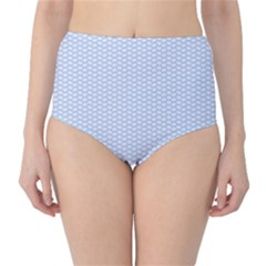 Alice Blue White Kisses In English Country Garden Classic High Waist Bikini Bottoms by PodArtist