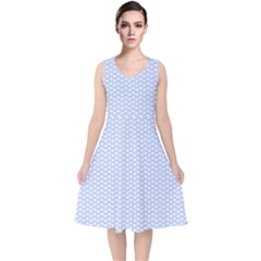 Alice Blue White Kisses In English Country Garden V Neck Midi Sleeveless Dress  by PodArtist
