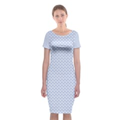 Alice Blue White Kisses In English Country Garden Classic Short Sleeve Midi Dress by PodArtist