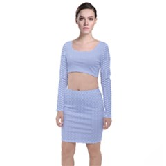 Alice Blue White Kisses In English Country Garden Long Sleeve Crop Top & Bodycon Skirt Set by PodArtist