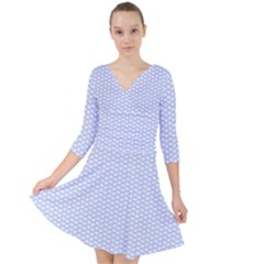 Alice Blue White Kisses In English Country Garden Quarter Sleeve Front Wrap Dress by PodArtist