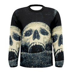 Smiling Skull Men s Long Sleeve Tee by FunnyCow
