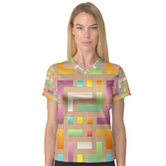 Abstract Background Colorful V Neck Sport Mesh Tee