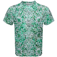 Damask2 White Marble & Green Marble Men s Cotton Tee