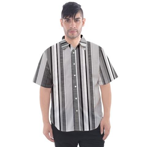 Shades Of Grey Wood And Metal Men s Short Sleeve Shirt by FunnyCow