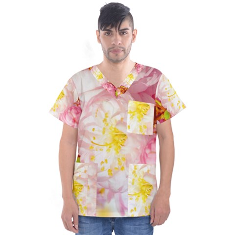 Pink Flowering Almond Flowers Men s V-neck Scrub Top by FunnyCow