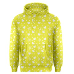 Hearts And Star Dot Yellow Men s Pullover Hoodie by snowwhitegirl