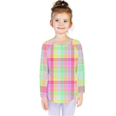 Pastel Rainbow Sorbet Ice Cream Check Plaid Kids  Long Sleeve Tee by PodArtist