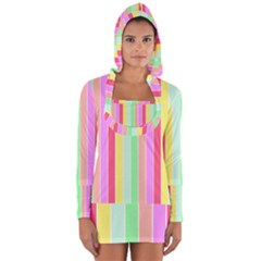 Pastel Rainbow Sorbet Deck Chair Stripes Long Sleeve Hooded T Shirt by PodArtist
