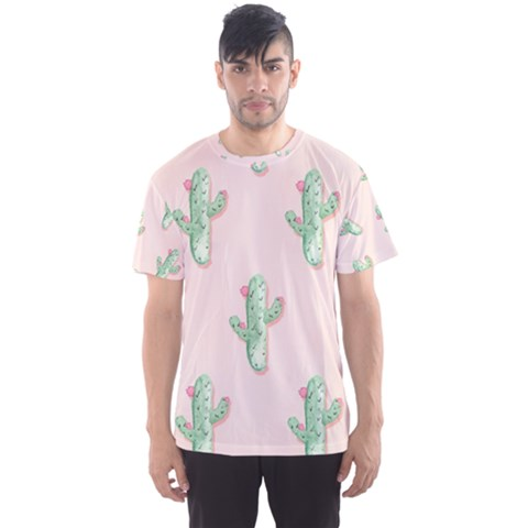 Green Cactus Pattern Men s Sports Mesh Tee by AnjaniArt