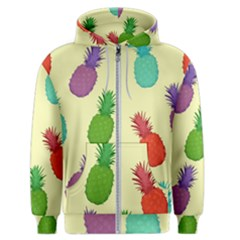Colorful Pineapples Wallpaper Background Men s Zipper Hoodie