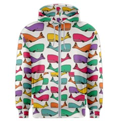 Fish Whale Cute Animals Men s Zipper Hoodie by Alisyart