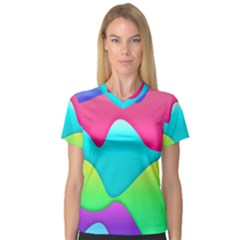 Lines Curves Colors Geometric Lines V-neck Sport Mesh Tee