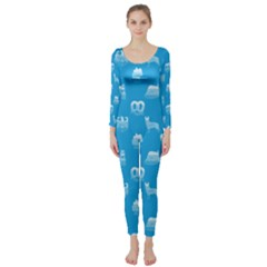 Oktoberfest Bavarian October Beer Festival Motifs In Bavarian Blue Long Sleeve Catsuit by PodArtist