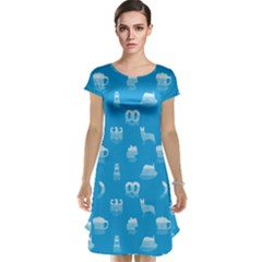 Oktoberfest Bavarian October Beer Festival Motifs In Bavarian Blue Cap Sleeve Nightdress by PodArtist
