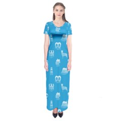 Oktoberfest Bavarian October Beer Festival Motifs In Bavarian Blue Short Sleeve Maxi Dress by PodArtist