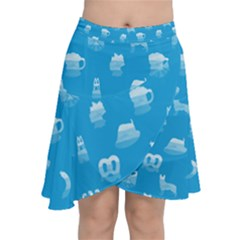 Oktoberfest Bavarian October Beer Festival Motifs In Bavarian Blue Chiffon Wrap Front Skirt by PodArtist