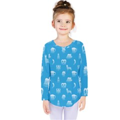 Oktoberfest Bavarian October Beer Festival Motifs In Bavarian Blue Kids  Long Sleeve Tee by PodArtist