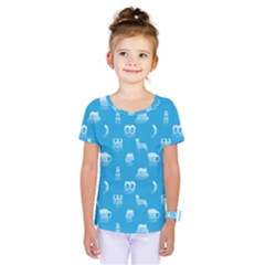 Oktoberfest Bavarian October Beer Festival Motifs In Bavarian Blue Kids  One Piece Tee by PodArtist