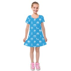 Oktoberfest Bavarian October Beer Festival Motifs In Bavarian Blue Kids  Short Sleeve Velvet Dress by PodArtist