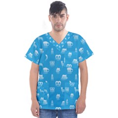 Oktoberfest Bavarian October Beer Festival Motifs In Bavarian Blue Men s V Neck Scrub Top by PodArtist