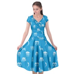 Oktoberfest Bavarian October Beer Festival Motifs In Bavarian Blue Cap Sleeve Wrap Front Dress by PodArtist