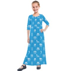 Oktoberfest Bavarian October Beer Festival Motifs In Bavarian Blue Kids  Quarter Sleeve Maxi Dress by PodArtist