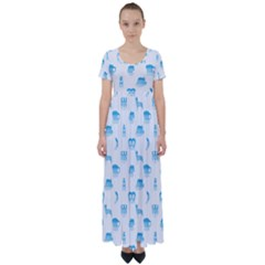 Oktoberfest Bavarian October Beer Festival Motifs In Bavarian Blue High Waist Short Sleeve Maxi Dress by PodArtist