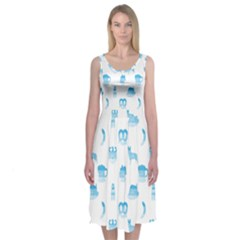 Oktoberfest Bavarian October Beer Festival Motifs In Bavarian Blue Midi Sleeveless Dress by PodArtist