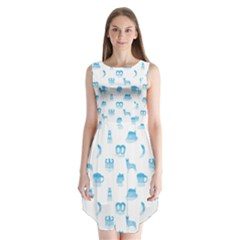 Oktoberfest Bavarian October Beer Festival Motifs In Bavarian Blue Sleeveless Chiffon Dress   by PodArtist